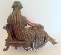 Statue Femme Drapee Bronze Signe P. Hebert 1823-1893 Socle Marbre Noir