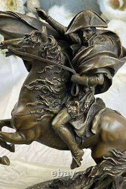 Statue Sculpture Cheval Napoleon Français Style Bronze Signée Marbre Base