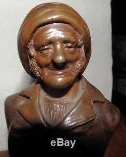 Statuettes SIGNEES, BRONZE, vieux pêcheur XIX S, socle marbre, PRESSE-PAPIER N°94