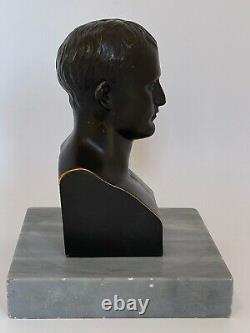 Sujet Bronze Napoleon Bonaparte Signe Canova Support Marbre 19eme Buste C2720