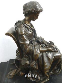 Superbe Ancien Bronze Sur Marbre Signe Moreau