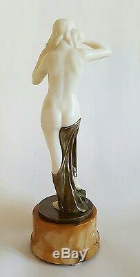 Superbe Antique Bronze Marbre Sculpture Statue Nu Signée Schumacher