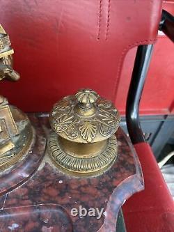Superbe Bronze Embroise Paré Encrier Marbre Griotte 19 Eme Signe