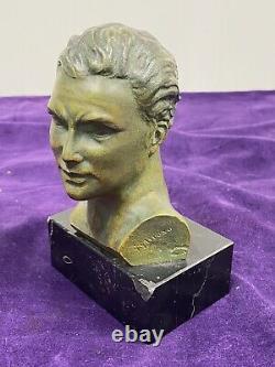 Superbe Buste Masculin En Bronze Sur Socle En Marbre Noir Signé G Garreau