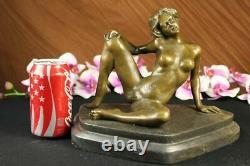 Superbe Signé Érotique Chair Bronze Statue Sculpture Marbre Figurine Chaud Fonte