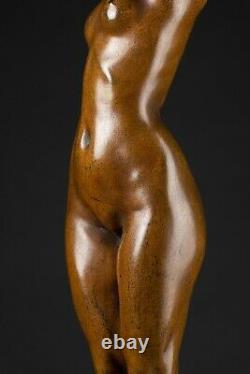 Théodore Rivière Phryné Bronze à patine brune nuancée sur marbre c. 1910