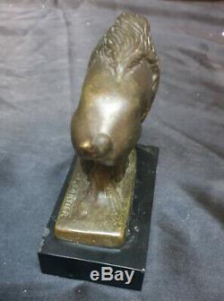 Thomas François Cartier Bison en bronze sur marbre noir