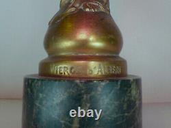 Vierge d'Albert Roze en Bronze Doré 28cm Base Marbre Vert de Mer, un Bras cassé