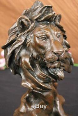 Vintage Laiton Ou Bronze Lion Tête Buste Sculpture, Signé, Marbre Base Figurine