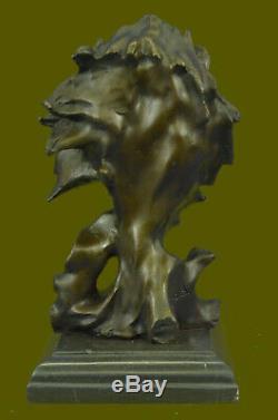 Vintage Laiton Ou Bronze Lion Tête Buste Sculpture, Signé, Marbre Base Hot Fonte