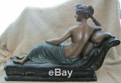 Vintage Semi Chair Femme sur Chaise Salon Bronze Signé Gossin sur Marbre Base