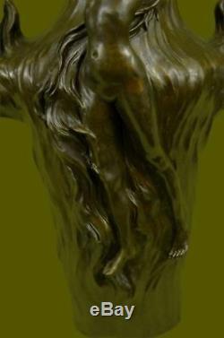 Vintage Signée Chair Nymphe Art Statue Bronze Vase Marbre Base 13 Haut