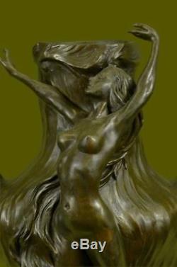 Vintage Signée Chair Nymphe Art Statue Bronze Vase Marbre Base 13 Haut Lost