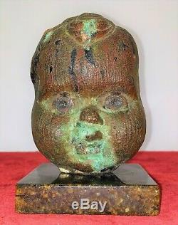 Visage D'angelot. Bronze Ciselé. Base En Marbre. Espagne. Xixème Siècle